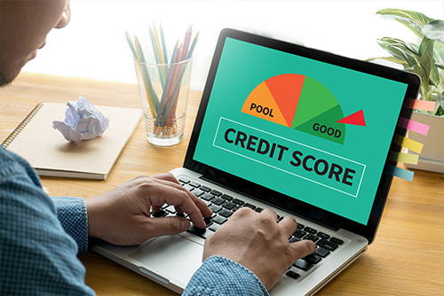 male using laptop credit score image on computer screen
