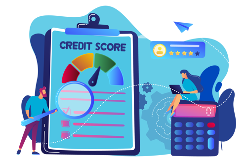 "Women with calculator and man with clipboard displaying the word ""Credit Score"""