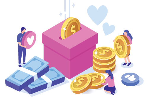 illustration of people putting coins in a gift box
